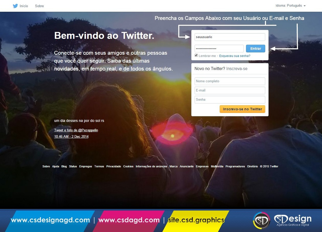 Página de Login do Twitter